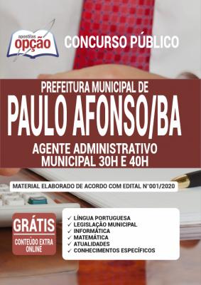 Concurso Prefeitura de Paulo Afonso BA 2020