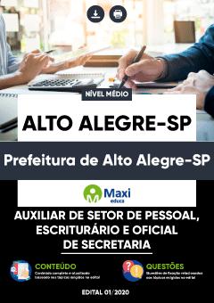 Concurso Prefeitura de Alto Alegre SP 2020